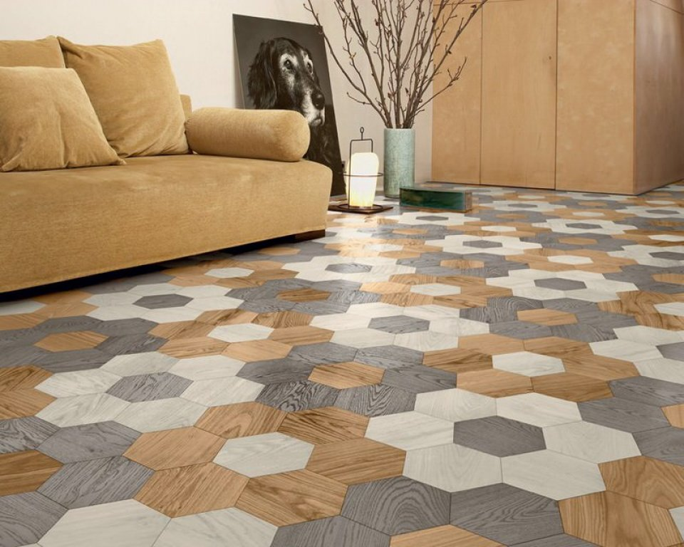 Hexagon Oak Wood Parquet Floor by Bisazza